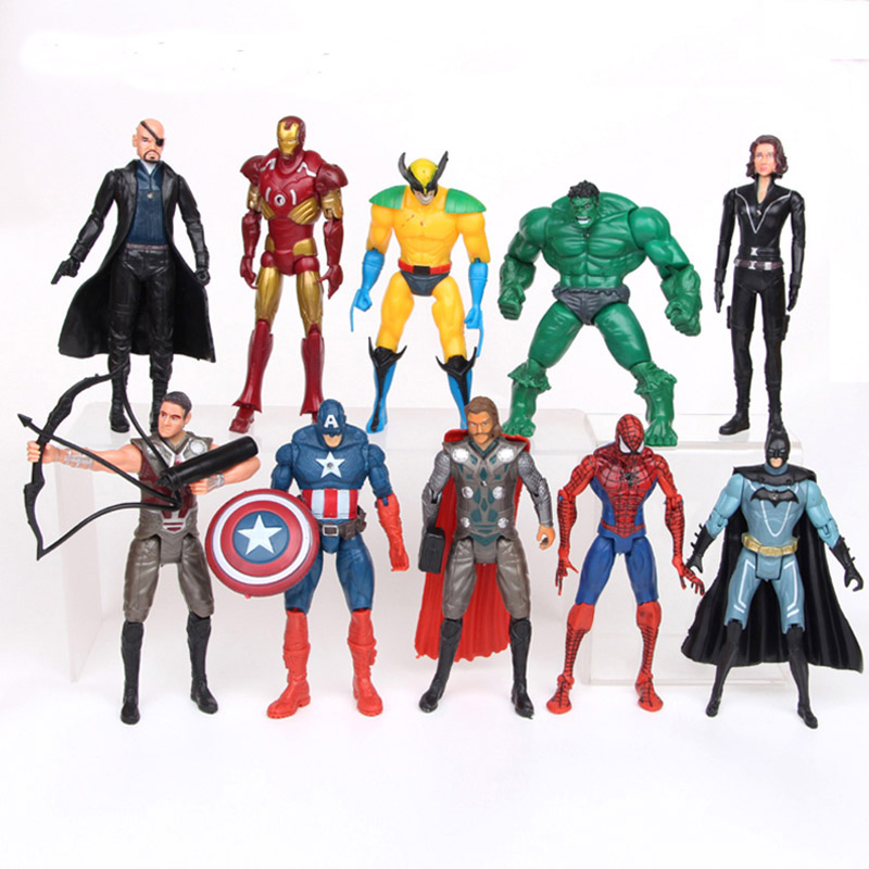 10 pièces/ensemble Marvel Avengers figurine d'action Batman veuve noire Hulk Iron Man captain America Thor Spiderman Figuren 15 CM Super héros
