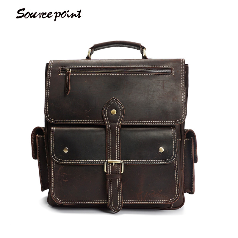 YISHEN Crazy Horse Leather Men's Backpack Top-Handle Bags Fashion Vintage Men Travel Bags Large Capacity Men Backpack YD-8057 все цены