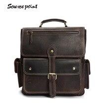 YISHEN Crazy Horse Leather Men's Backpack Top-Handle Bags Fashion Vintage Men Travel Bags Large Capacity Men Backpack YD-8057