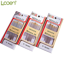 16 Pcs/Set Looen Home DIY Stainless Steel Hand Sewing Needles Tail Gold Plated Paper Box Package