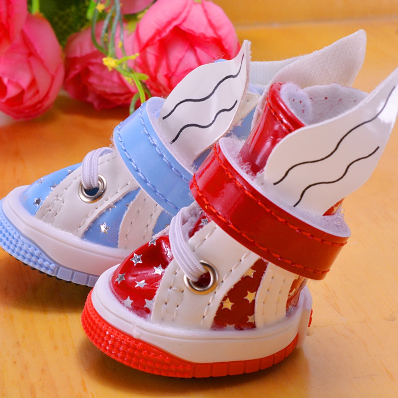 Angle Bling Star Clothing Yorkie Dog Shoes Casual Red Blue Autumn PU Pet Footwear Grooming For Chihuahua Pitbull Dachshund Puppy