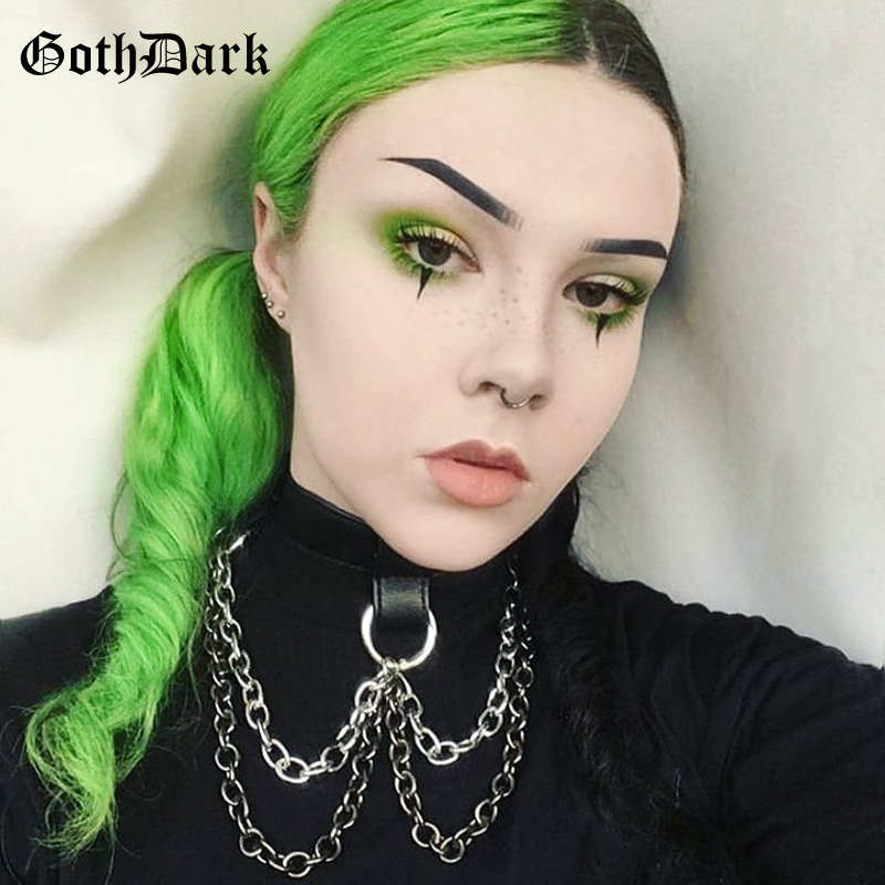 Goth Dark Black Grunge Punk Gothic Chocker Necklace Silver Chain Metal Round Necklaces 2019 Fashion Harajuku PU Vintage Choker 1