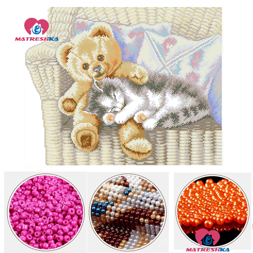diy cross stitch beads embroidery bear cat vase beadwork home decor crafts needlework accessories pearl full