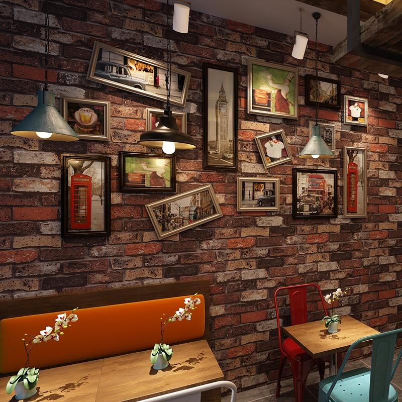 Купить с кэшбэком PAYSOTA Chinese Style Retro 3D Brick Wallpaper Bar Coffee Restaurant Red Wall Paper Roll