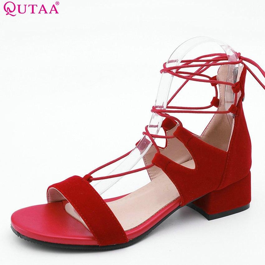 QUTAA 2018 Women Sandals Square Heel All Match Flock Women Shoes Platform Buckle Casual High Quality Women Sandals Size 34-43 qutaa 2018 women shoes flock hoof high