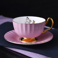 English Style Ceramic Cup Coffee Cup Saucer Originality Pleated Solid Color Phnom Penh Butterfly Cup