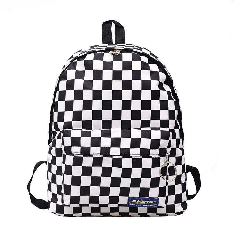 2019 Hot Style Black And White Checked Girl's Backpack Lady's Casual Nylon Outdoor Travel Backpack Schoolbag For Female Students
