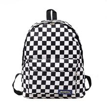 2019 Hot Style Black and White Checked Girl's Backpack Lady's Casual Nylon Outdo