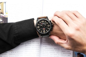 Image 5 - CURREN Mens שעונים למעלה מותג יוקרה עמיד למים ספורט שעון יד הכרונוגרף קוורץ צבאי אמיתי עור Relogio Masculino