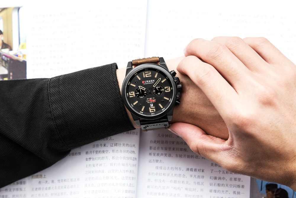 CURREN Mens שעונים למעלה מותג יוקרה עמיד למים ספורט שעון יד הכרונוגרף קוורץ צבאי אמיתי עור Relogio Masculino