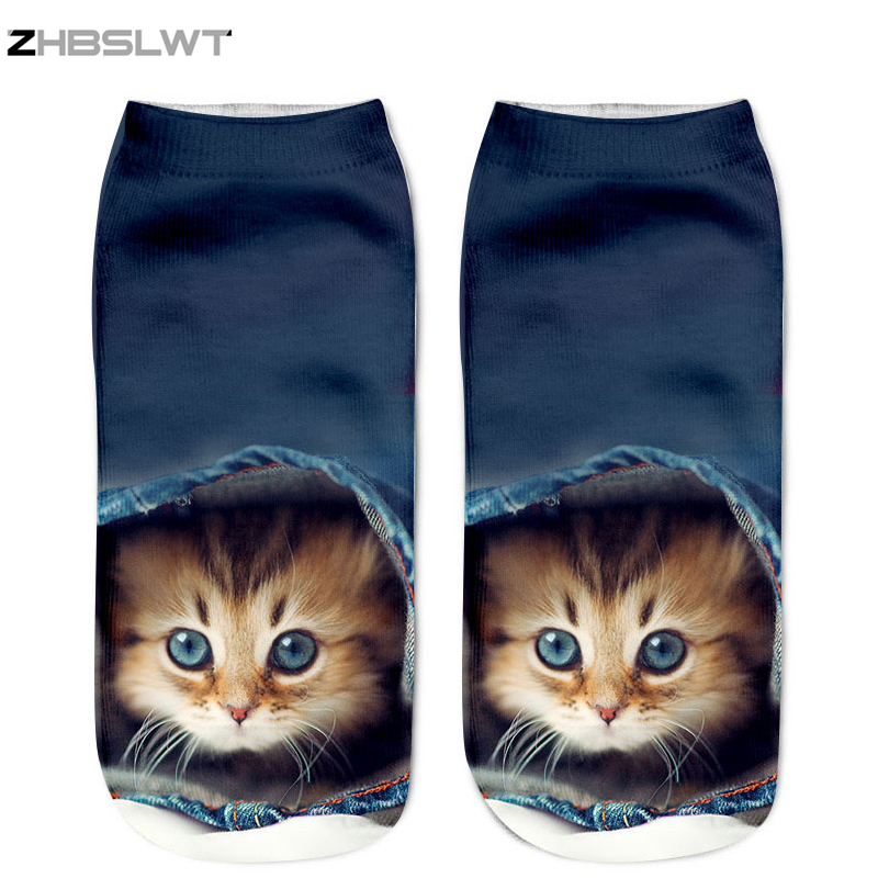 ZHBSLWT 3D Socks Harajuku Style Print Cat Women Socks Casual Socks Unisex Low Cut Ankle Socks