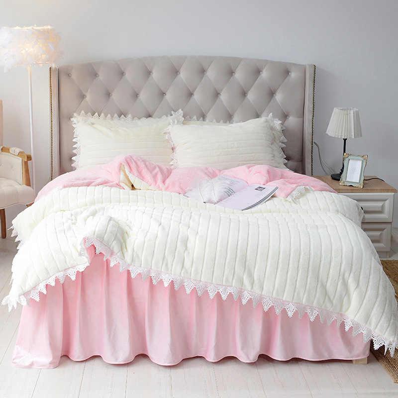 Juego de cama de pelo de conejo, ropa de cama gruesa de lana de Cachemira, falda de cama con volantes, juegos de ropa de cama tallada en camello, estilo coreano