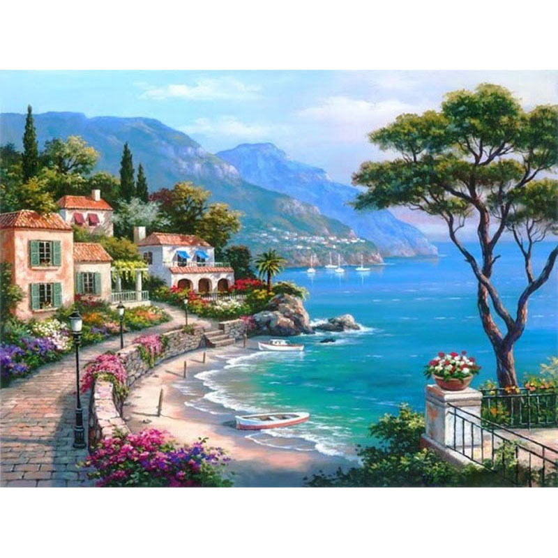Sea House 5D Diamond Painting Seaside Scenery Embroidery Full Square Round Drill Mosaic 3d Landscape Home Wall Decoration Sale