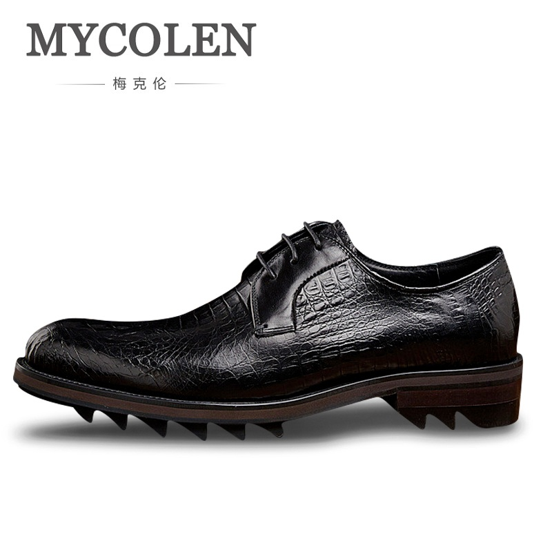 MYCOLEN Top Quality Crocodile Skin Leather Men Dress Shoes Pointed Toe Genuine Leather Luxury Men Business Mens Formal Shoes mycolen men formal shoes luxury business dress shoes full leather pointed toe loafers men wedding leather shoe black moccasins