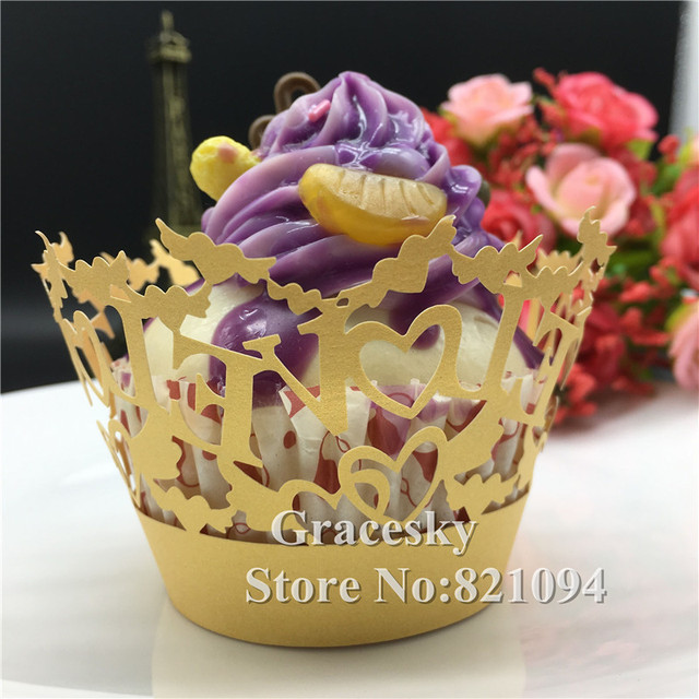 50pcs free shipping Laser Cut wedding Cupcakes Wrappers LOVE design ...