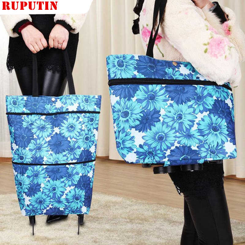 RUPUTIN New High Capacity Shopping Food Organizer Trolley Bag On Wheels Bags Folding Portable Shopping Bags Buy Vegetables Bags
