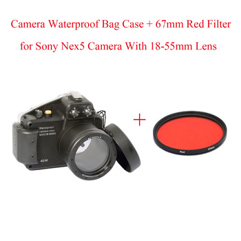 Meikon 40m/130ft Underwater Camera Diving Housing Case for Sony Nex5 18-55mm Camera,Camera Waterproof Bag Case + 67mm Red Filter