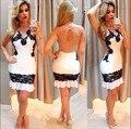 2016 лето Женщины сексуальное спинки кружева цветы колющими белый кружевном платье для коктейля выдалбливают платье de renda бальные платья