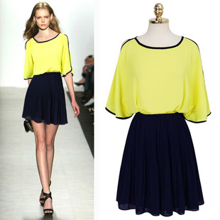 2013 summer fashion batwing sleeve loose pleated color block decoration chiffon one-piece dress female