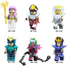 Single Cartoon Comic Saint Seiya movie Athena Shiryu Glacier Tutankhamu Alien Ultraman building block toy for children(China)