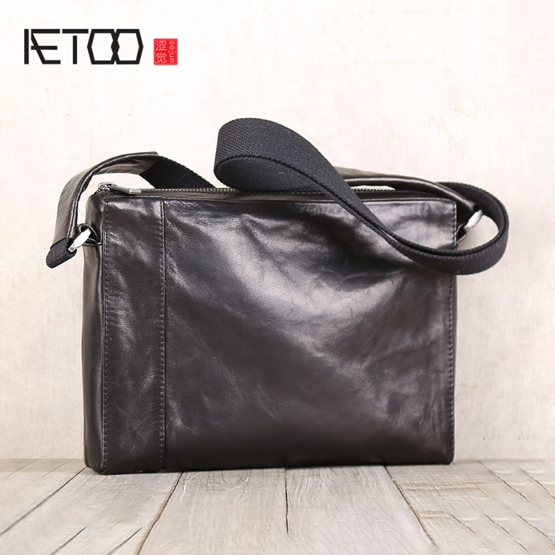AETOO Men's Goatskin Handmade Leather Bag Casual Cross Shoulder Leather Small Briefcase