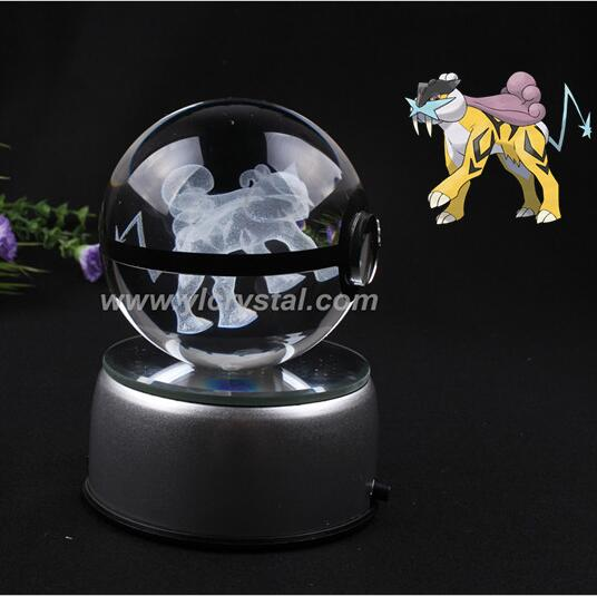 Pokemon Engraving Raikou Round Crystal With Black Line Nice Fashion Ball With LED Base With Gift Box