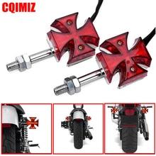 1 Pair Maltese Cross Motorcycle Turn Signal Light For Harley Honda Custom Rear Indicator Tail Lights