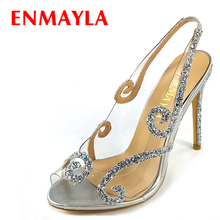 ENMAYLA Summer Glitter High Heels Clear Shoes Woman Peep Toe Slingblack Sandals Women Transparent Party Wedding Pumps