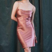 Lala's Peach women nightgowns silk sleeping nightdress satin nightwear sleepwear female dressing gown sexy Split evening dress