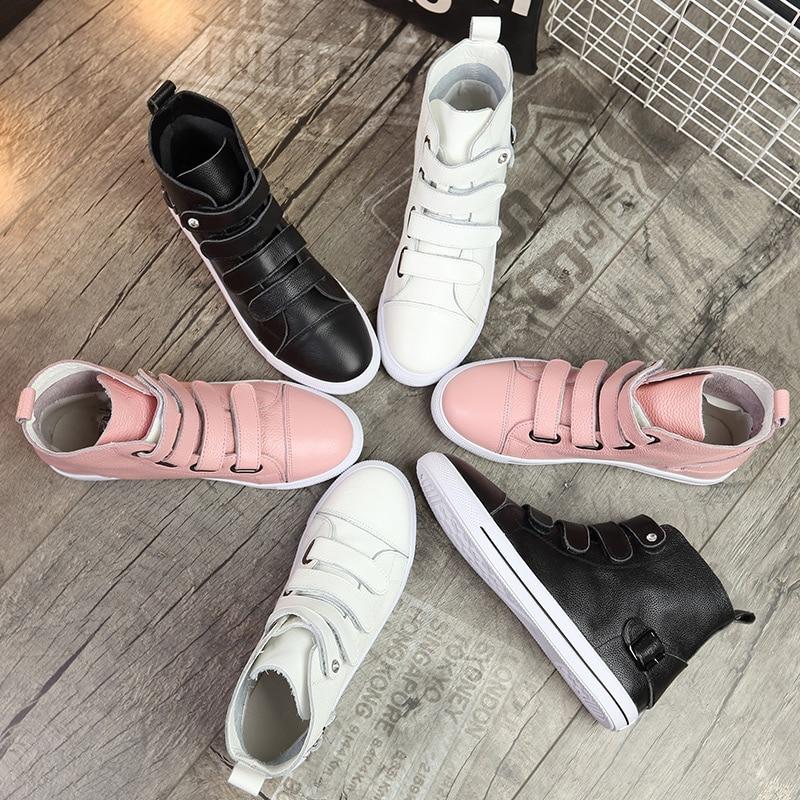 Véritable Lady Sneaker Respirant Doux blanc Blanc De Noir Loisirs Femmes 2018 Top Cuir Jookrrix En Mode rose Fille Casual Marque Chaussures Automne Z8Uq0