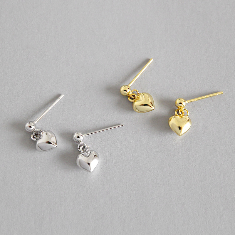 925 sterling silver heart stud earrings for women pendientes mujer, cute mini LOVE small earrings girl gifts brincos jewelry