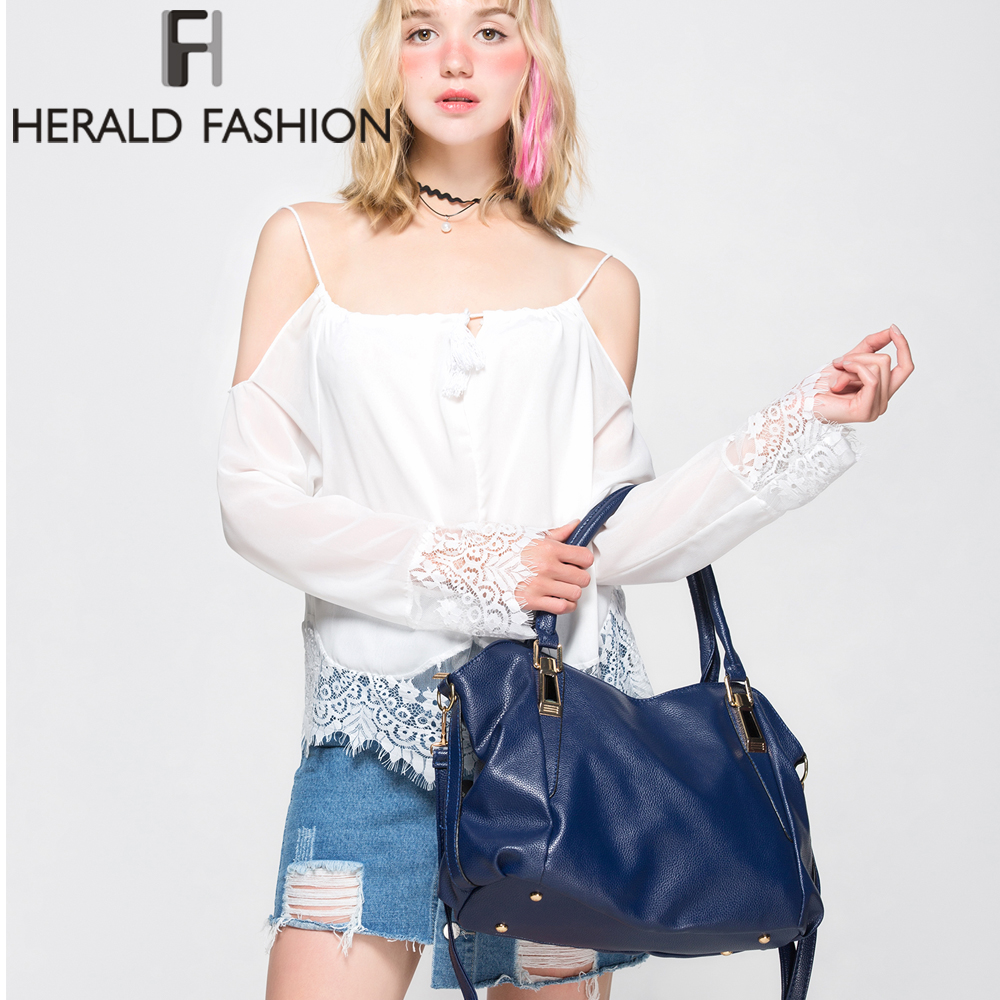 Image 2 - Herald Fashion Designer torebki damskie torebki damskie PU skórzane torebki damskie przenośna torba na ramię biurowa, damska torba typu hobo TotesTorebki na ramięBagaże i torby -