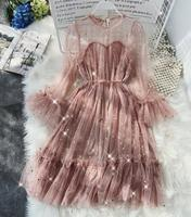 2019 new fashion women's dresses retro sweet sequined mesh lace dress tide
