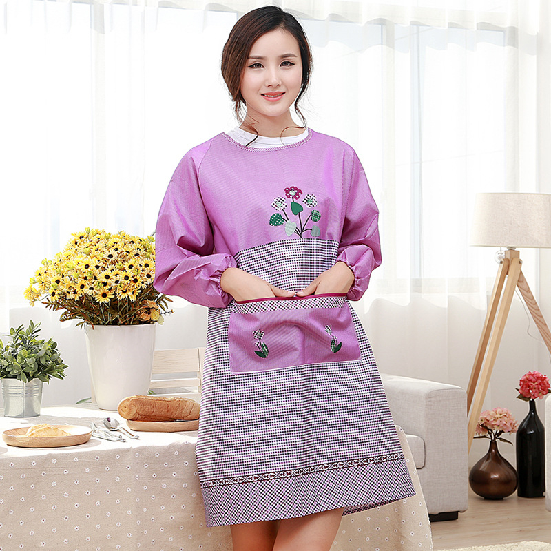women restaurant home kitchen aprons flower printed pocket cooking apron long sleeve oilproof adult - Cooking Aprons