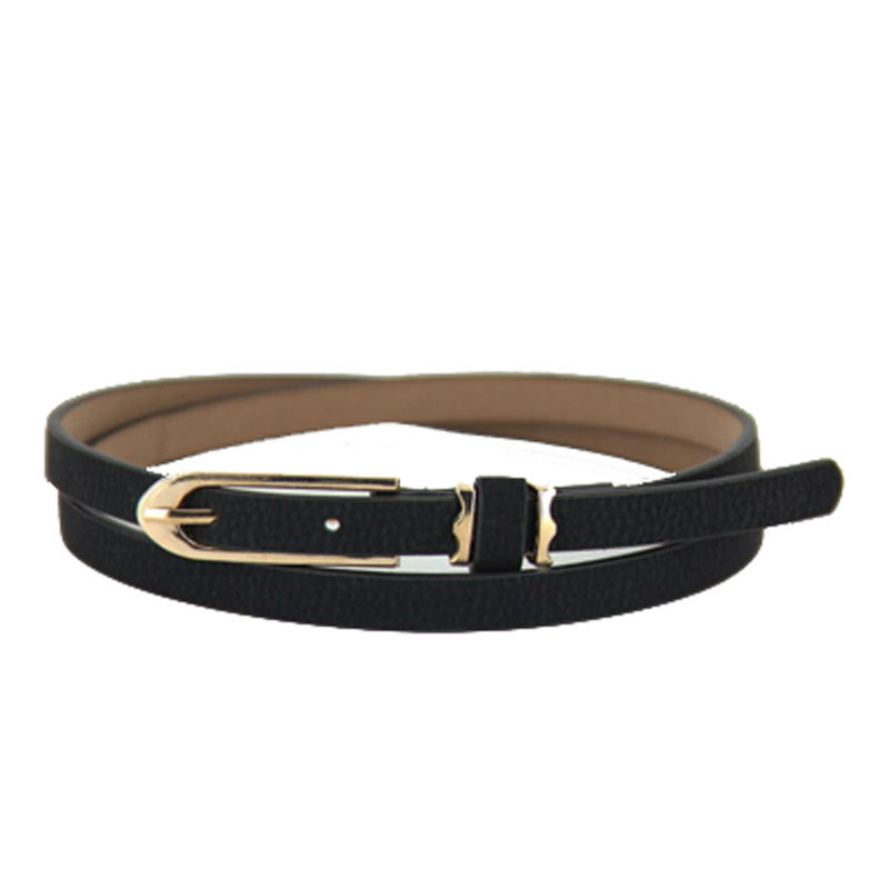 Metal Buckle Thin Casual Belt For Women Leather Belt Female Lovely Women Girl Buckle Candy Color Thin Skinny PU Leather Belt A9
