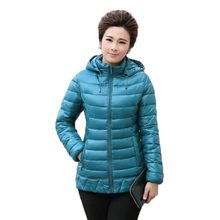 Plus Size XL-5XL Autumn Winter Middle Age Women Down Cotton Coat Hooded Slim Padded Jacket Long Sleeve Mother Overcoat PW0147