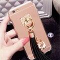 Luxo brilhante strass pingente de borla espelho tampa do telefone de volta para o iphone 6 6 s mais 7 mais 5 5S se borla case para iphone 7