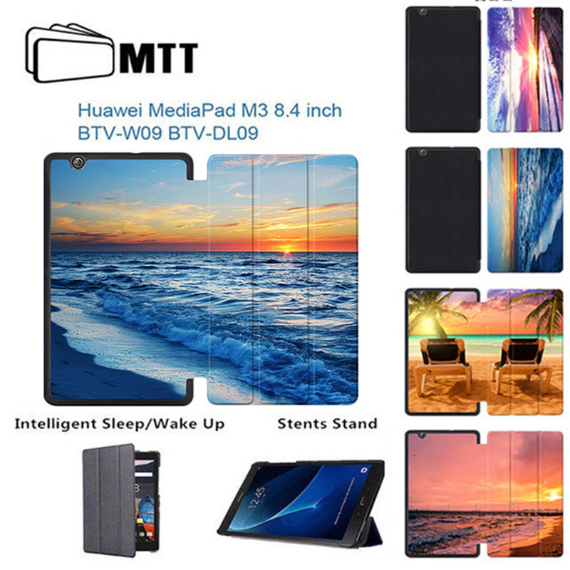 MTT Print Seascape PU Leather Cover For Huawei MediaPad M3 8.4 Flip Stand Cover Tablet Case for Huawei 8.4 inch M3 BTV-DL09 W09