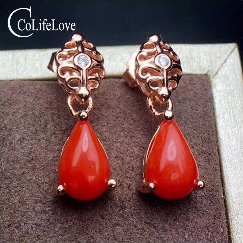 100% real natural red coral drop earrings for wedding 5 mm * 7 mm precious coral silver jewelry solid 925 silver opal earrings love monologue fashion jewelry lovely red create coral drop earrings for womens free gift bag j0494