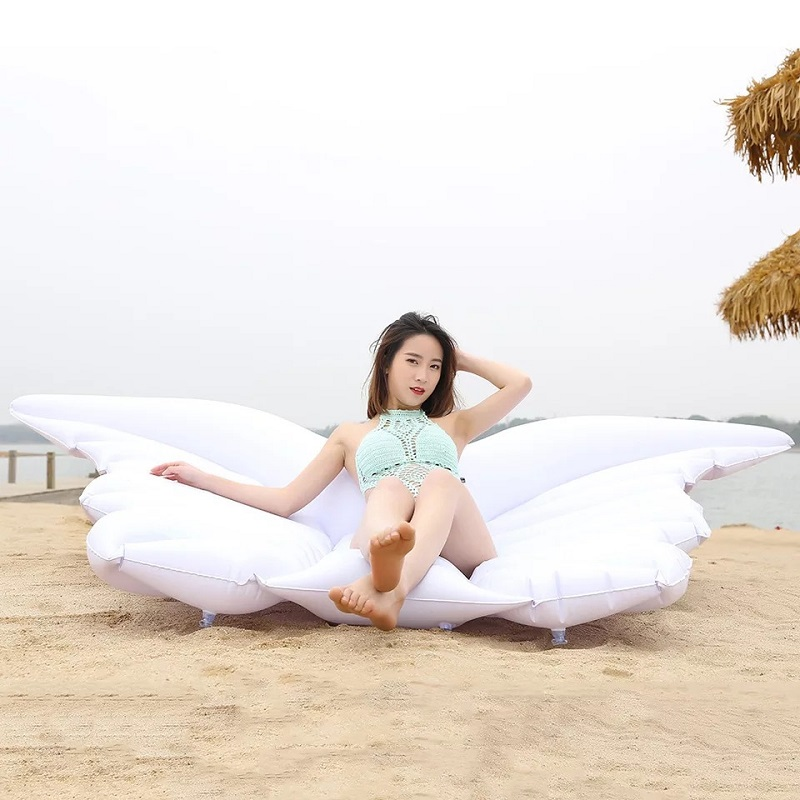 2018 Summer Swimming Pool Inflatable Angel Wings Floating Row Inflatable Mount Thick PVC Air Mattress Swimming For Adults #E giant pool float shells inflatable in water floating row pearl ball scallop aqua loungers floating air mattress donuts swim ring