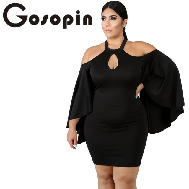 Gosopin Plus Size Cold Shoulder 5XL Size Dress Women Elegant Bodycon Dress Long Sleeve Sexy Party Dresses Verano Vestidos 610521