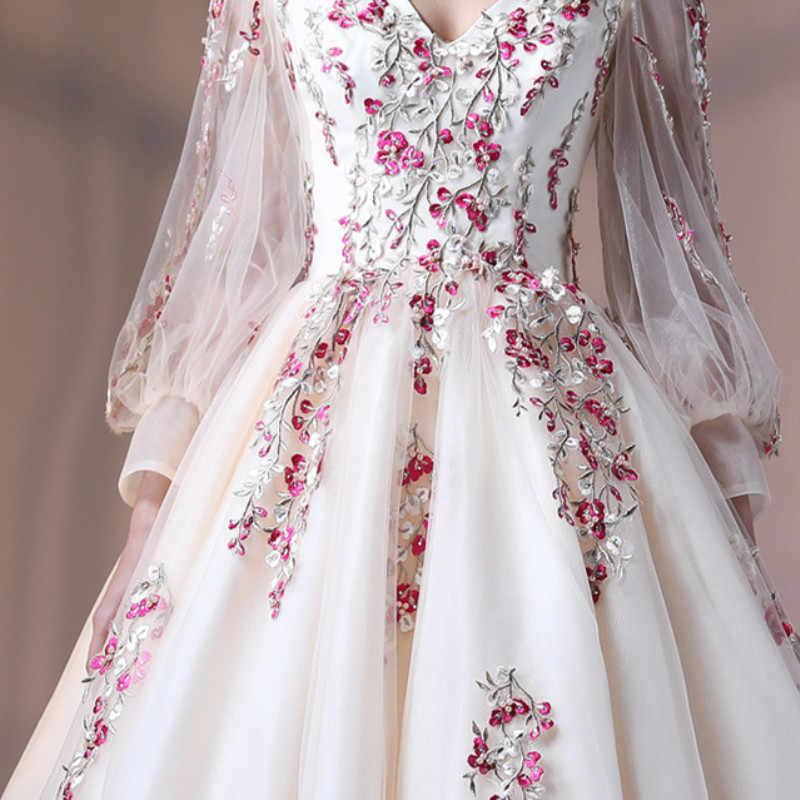 2019 כדור שמלות Applique Quinceanera שמלות ארוך שרוולי Vestidos דה 15 Sixteen נשף מתוק כותנות Robe דה Bal הנפוח שמלה