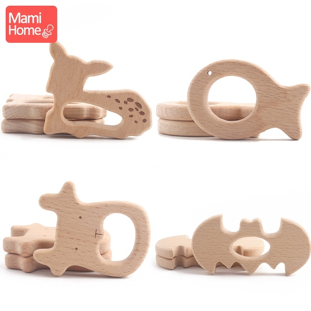1pc Wooden Teether Wood Pendant For Pacifier Chain Baby Products Animal Wooden Blank Rodent Baby Teethers Birth Nurse Gifts Toys 2