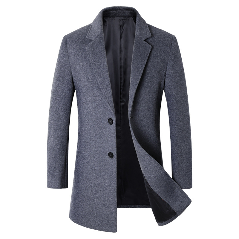 Men Jacket Warm Winter   Trench   Coat Long Outwear Button Overcoat Male Casual Slim Windbreaker Overcoat Jackets coats Wool Blends