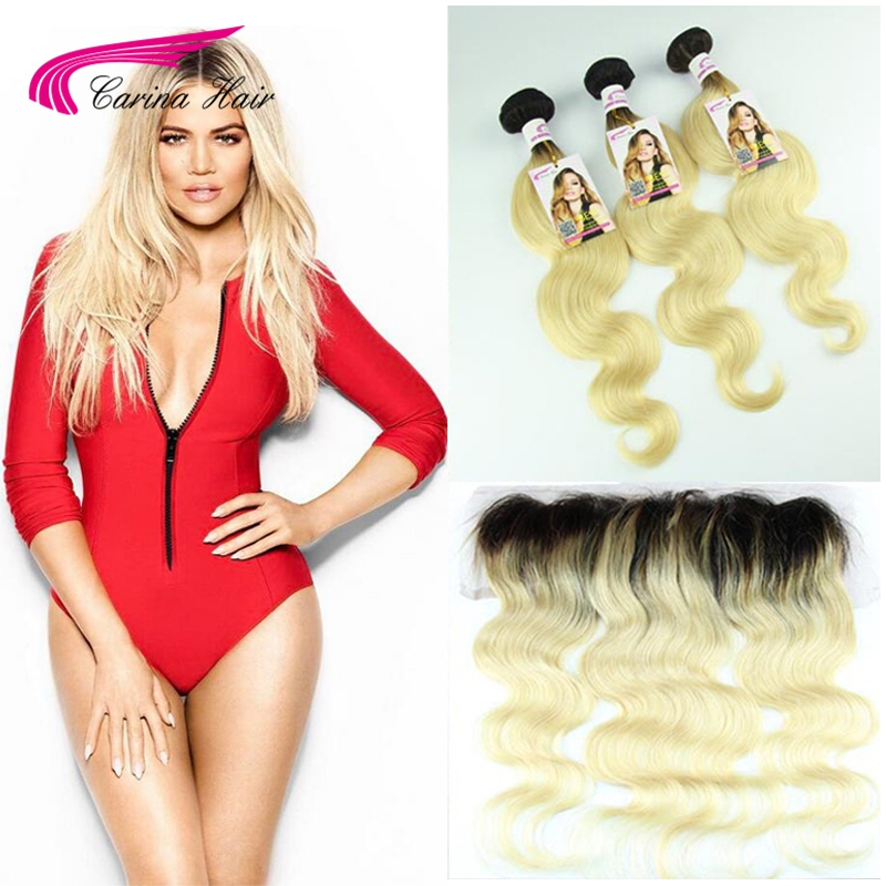 Top Grade 1b 613 Virgin Brazilian Hair Body Wave 3 Bundles With Blonde ear to ear lace frontal with Baby Hair 13*4 Free shipping