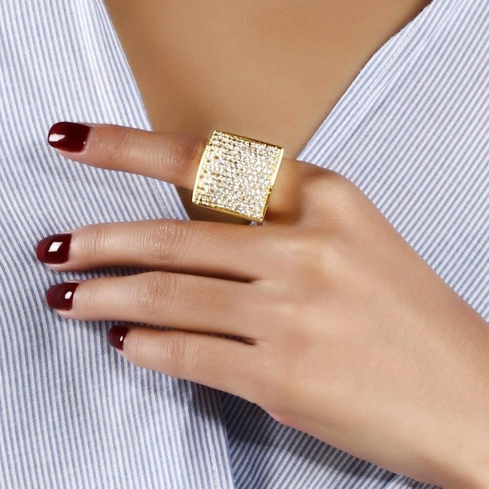 Forma quadrada única grande anel de jóias de alta qualidade Classic - Bijuterias - Foto 5