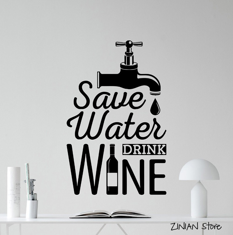 Save Water Drink Wine Words Wall Decals Dining Room Decoration Dining Room Wall Art Murals Wallpaper For Kitchen H271