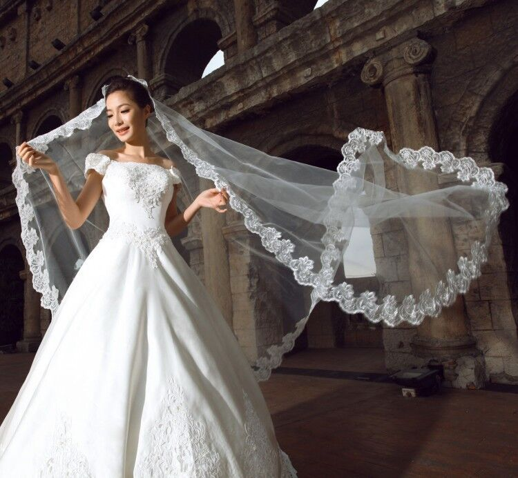 Bridal Veils Cheap Long Veils Soft Tulle Three Meters Long Veil with Lace on the Edge Cathedral