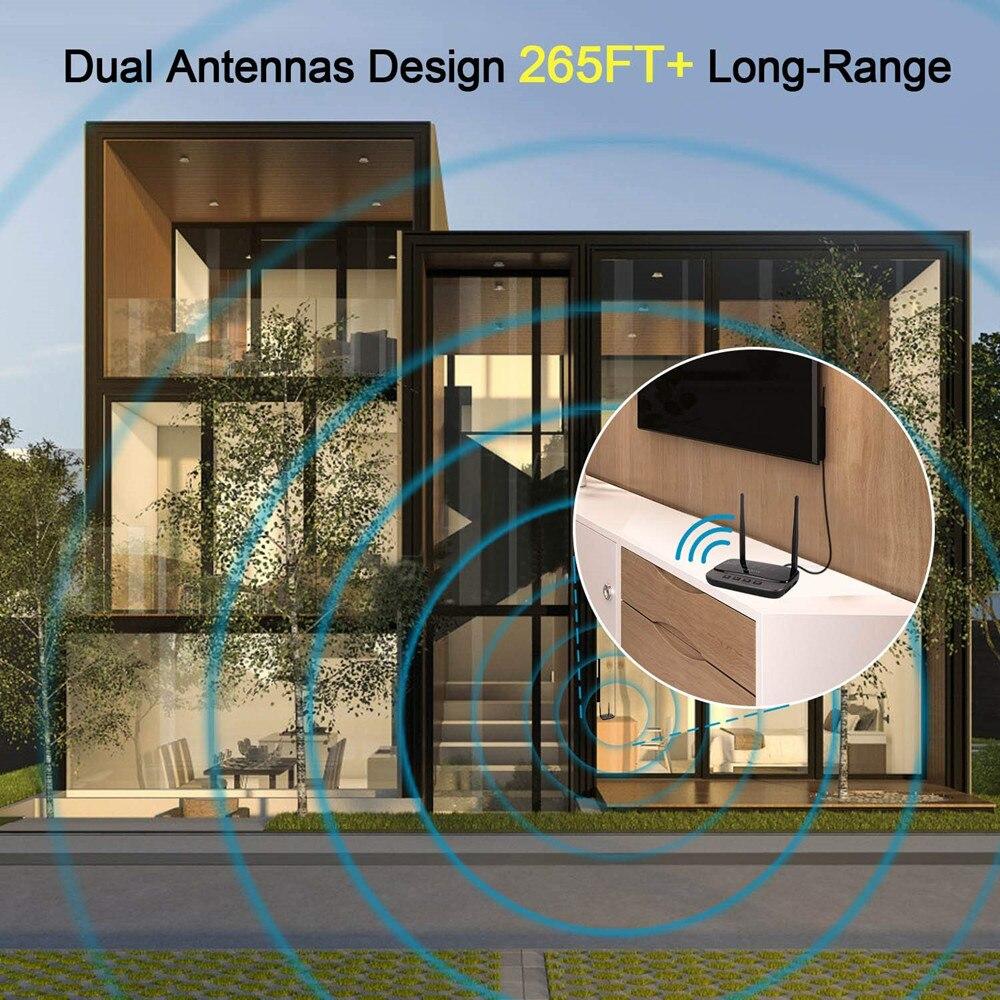 NFC y 262ft/80 m de largo alcance Bluetooth 5,0 transmisor receptor 3in1 de adaptador de Audio de baja latencia tecnología aptX HD óptico RCA AUX 3,5mm TV - 5