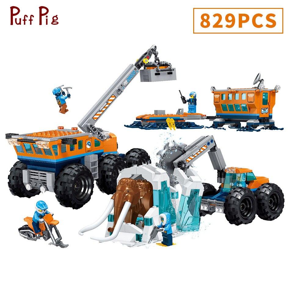 829 pz Il Antartico Veicolo di Salvataggio Modello di Set di Blocchi di Costruzione Elefante Figure Compatibile Legoings Città FAI DA TE Giocattoli Per I Bambini